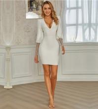 White Mesh Cut Out Mini Long Sleeve V Neck Bandage Dress PZL2734-White
