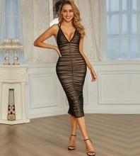 Black Slit Tulle Over Knee Sleeveless Strappy Bandage Dress PZL2735-Black
