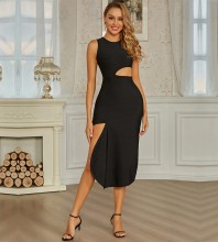 Black Asymmetrical Cut Out Over Knee Sleeveless Round Neck Bandage Dress PZL2736-Black