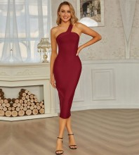 Wine Striped Asymmetrical Over Knee Sleeveless One Shoulder Bandage Dress PZL2739-Wine