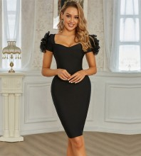 Black Frill Plain Midi Short Sleeve Square Collar Bandage Dress PZL2743-Black