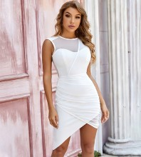 White Asymmetrical Mesh Mini Sleeveless Round Neck Bandage Dress PZL2747-White