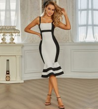 White Fishtail Splicing Over Knee Sleeveless Strappy Bandage Dress PZL2750-White