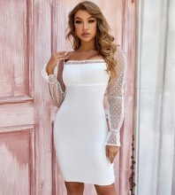 White Mesh Tie Mini Long Sleeve Square Collar Bandage Dress PZL2809-White
