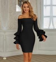 Black Backless Frill Mini Long Sleeve Off Shoulder Bandage Dress PZL2814-Black