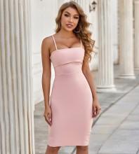 Pink Slit Frill Midi Sleeveless Strappy Bandage Dress PZL2838-Pink