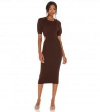 Dark Brown Distinctive Exposed Waist Midi Short Sleeve Round Neck Bandage Dress PZL2861-Dark-Brown