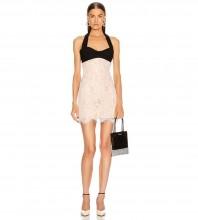 Nude Backless Lace Mini Sleeveless Halter Bandage Dress PZL2895-Nude