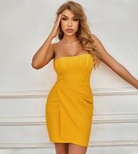 Yellow Striped Frill Mini Sleeveless Strapless Bandage Dress PZL2896-Yellow