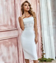 White Frill Striped Midi Sleeveless Strappy Bandage Dress PZL2928-White