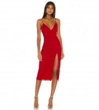 Red Slit Lace Over Knee Sleeveless Strappy Bandage Dress PZL2936-Red