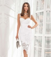 White Frill Lace Midi Sleeveless Strappy Bandage Dress PZL2937-White