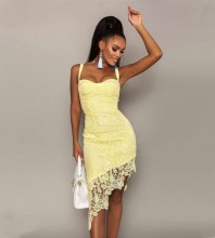 Yellow Frill Lace Midi Sleeveless Strappy Bandage Dress PZL2937-Yellow
