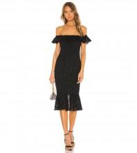 Black Frill Fishtail Over Knee Short Sleeve Off Shoulder Bandage Dress PZL2946-Black