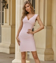 Pink Backless Striped Mini Sleeveless V Neck Bandage Dress PZL334-Pink