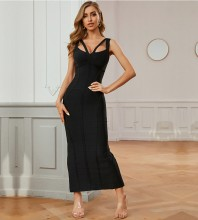Black Slit Striped Maxi Sleeveless Strappy Bandage Dress PZL339-Black