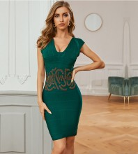 Green Patterned Striped Mini Sleeveless V Neck Bandage Dress PZL355-Green