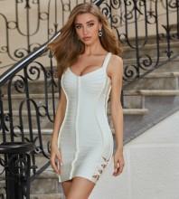White Striped Cut Out Mini Sleeveless Strappy Bandage Dress PZL382-White