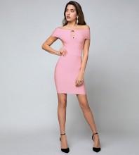 Rayon - Off Shoulder Short Sleeve Mini High Quality Bandage Dress SW035-Pink