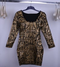 Gold Decorative Pattern Long Sleeve Dress Sep100L