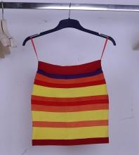 Multicolor Strip Short Skirt Sep148M