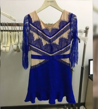 Blue Lace Lotus Leaf Dress Sep204M