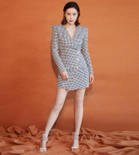 Houndstooth Distinctive Plaid Mini Long Sleeve V Neck Bodycon Dress SL101605-Houndstooth