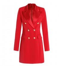 Red Zipper Metal Ornamental Buckle Mini Long Sleeve V Neck Bodycon Dress SL101619-Red