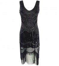 Black Women's 1920S Gastby Inspired Sequined Embellished Fringed Flapper Dress SN010-Black