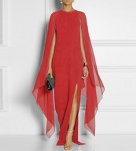 Red Turtle Neck Long Sleeve Maxi Meshed Pagoda Sleeve Amazing Bodycon Dress SN070-Red