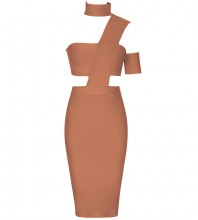 Brown Distinctive Cut Out Midi Sleeveless Halter Bandage Dress SP015-Brown
