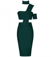 Dark Green Distinctive Cut Out Midi Sleeveless Halter Bandage Dress SP015-Dark-Green