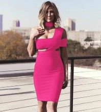 Rose Asymmetrical Cut Out Midi Sleeveless Halter Bandage Dress SP015-Rose