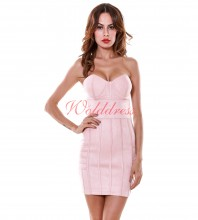 Strapless Sleeveless Mini Suede Good Nice Dress SP033-Nude