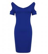 Blue V Neck Short Sleeve One Piece Off Shoulder Bodycon Dress SP049-Blue