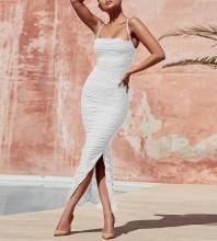 White Strapy Sleeveless Over Knee Mesh Fashion Bodycon Dress SP061-White