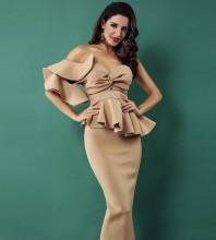 Apricot One Shoulder Sleeveless Over Knee Falbala Fashion Bodycon Dress SP062-Apricot