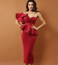 Wine One Shoulder Sleeveless Over Knee Falbala Fashion Bodycon Dress SP062-Wine