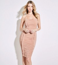 Pink Strapy Sleeveless Mini Fold Sexy Bodycon Dress SP064-Pink