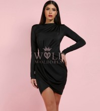 Black Halter Long Sleeve Mini Ruched Smoothy Evening Bodycon Dress SP065-Black