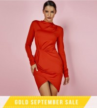 Red Halter Long Sleeve Mini Ruched Smoothy Bodycon Dress SP065-Red