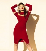 Wine Round Neck Long Sleeve Over Knee Cut Out Evening Bodycon Dress SP080103-Wine