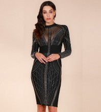 Rayon - Black Round Neck Long Sleeve Knee Length Metal Studded Beaded High Quality Bandage Dress SW023-Black