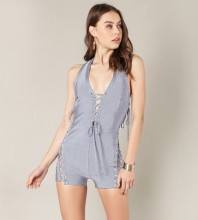 Rayon - Light Blue Halter Sleeveless Mini Lace Up Backless Party Bandage Jumpsuits SW025-Light Blue