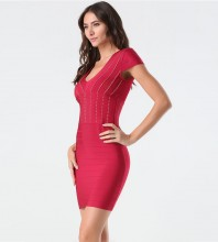 Rayon - Red V Neck Cap Sleeve Mini Bead Stripe Fashion Bandage Dress SW027-Red