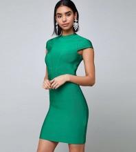 Rayon - Green Round Neck Short Sleeve Mini High Quality Bandage Dress SW029-Green