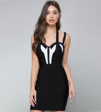 Rayon - Balck Strapy Sleeveless Mini Color Blocked Plain Simple Bandage Dress SW031-Black