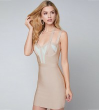 Rayon - Nude Strapy Sleeveless Mini Color Blocked Plain Simple Bandage Dress SW031-Nude
