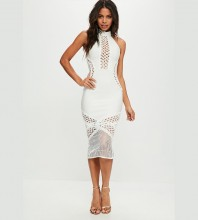 Rayon - White Halter Sleeveless Over Knee Hollow Out Lace Up High Quality Bandage Dress SW033-White