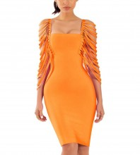 Rayon - Orange Round Neck 3/4 Sleeve Mini Fashion Bandage Dress SW037-Orange